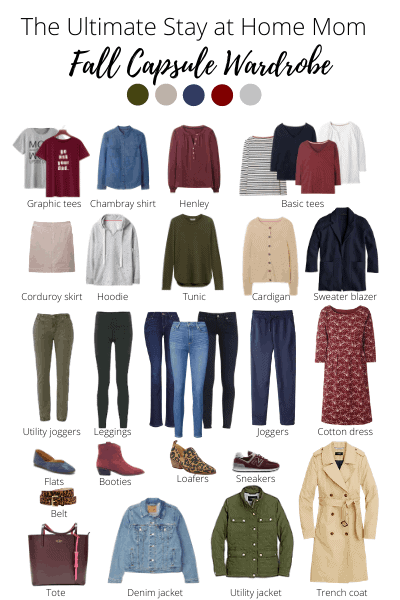 this stay at home mom capsule wardrobe for fall has 29 pieces