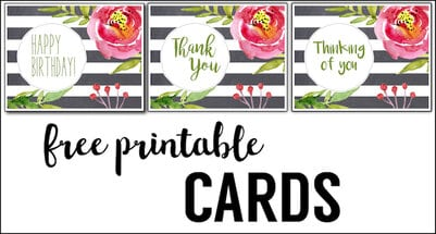 Free Printable Greeting Cards {Thank You, Thinking of You, Happy Birthday}. Print these easy DIY watercolor floral cards. Free printable thank you card   Free printable birthday card   Free printable thinking of you card.