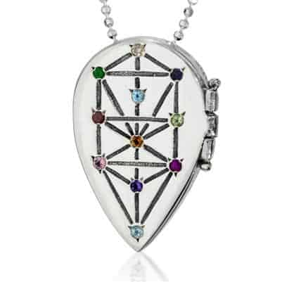 Sliver and Precious Gems Tree of Life Necklace