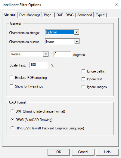 Conversion options - general settings