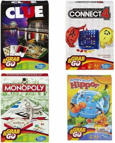 4 of hasbro's most popular games come in compact travel sizes: monopoly, hungry hippo, clue and connect 4.