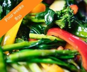 Product ad - bright green and other colored veggies cooking