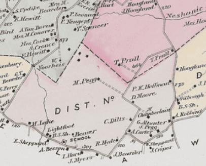 Detail of the 1873 Beers-Comstock map of Raritan Twp.