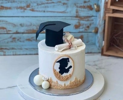 Simple Cap and Diploma Cake