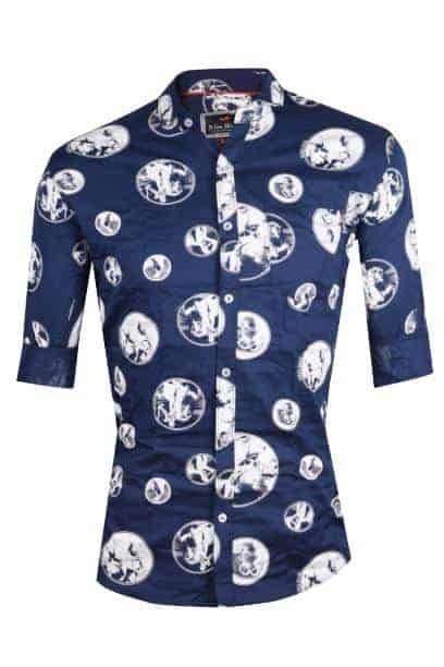 Dson Men's Printed Cotton Casual Shirt for Men Full Sleeves - M NAVY BLUE