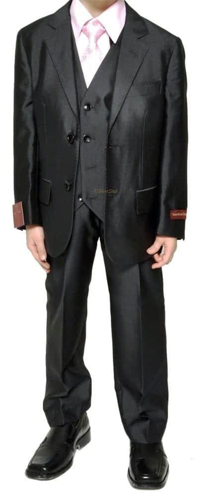 Suit for Boys Black Textured Microfiber Three Piece Suit
