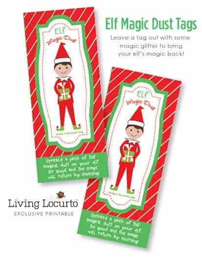 Elf Magic Dust - Printable Tags! Directions on how to bring back an Elf on the Shelf's magic! Exclusive design by LivingLocurto.com