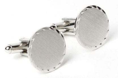 Brushed Round Silver Cufflinks Only
