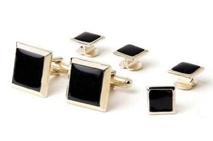 Cufflinks Studs Faux Onyx Square Gold