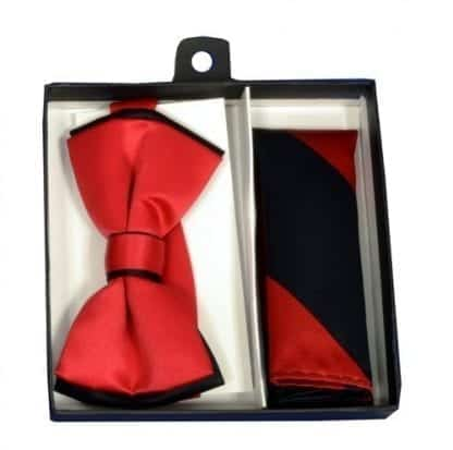 Bow Tie and Pocket Square Dual Color Bowtie Set