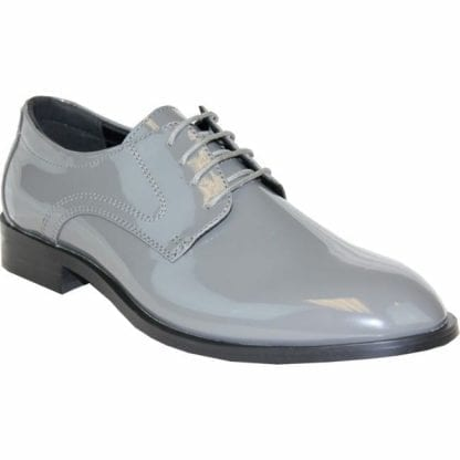Tuxedo Shoes Grey Patent Leather Men made Material Tuxedo Shoes