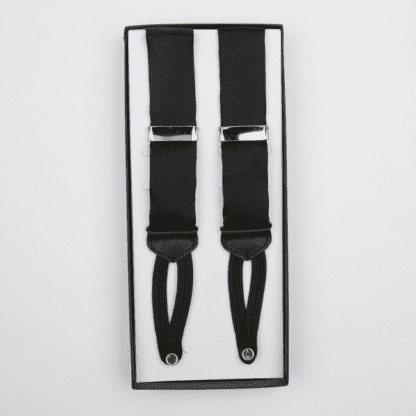 Ike Behar Black Silk Button Suspenders with Braided Ends