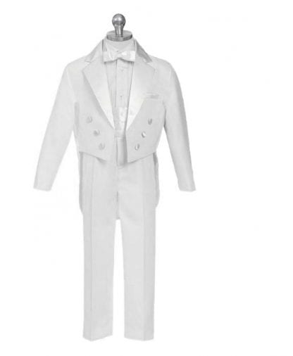 Boys White Tails Tuxedo Ring Bearer Baptism