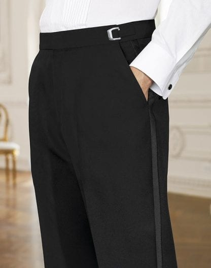 Tuxedo Pants BLACK All Wool NON PLEATED Trousers