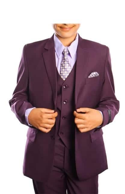 Boys Suit Plum 5 Piece