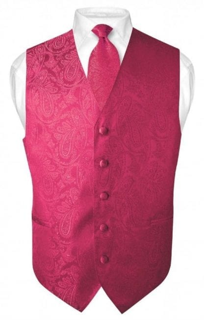 Hot Pink Paisley Vest With Tie