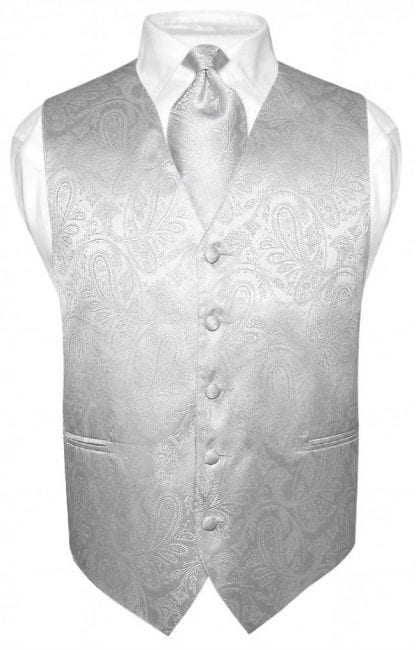 Silver Paisley Vest With Tie