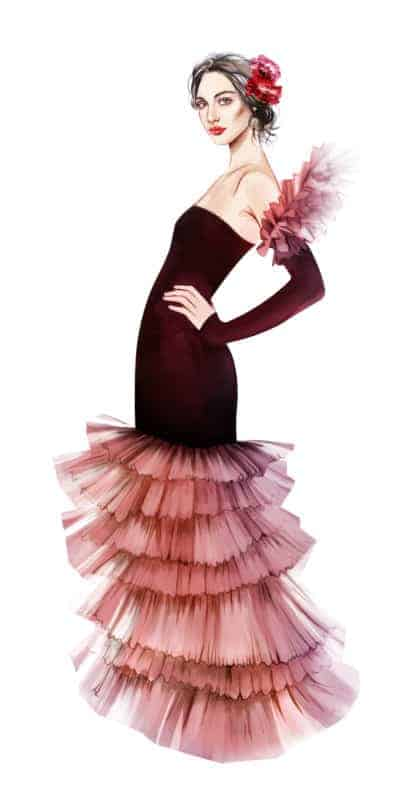 Fashion Illustration inspiriert von der Nelke - Designerin: Rula von Kuniri