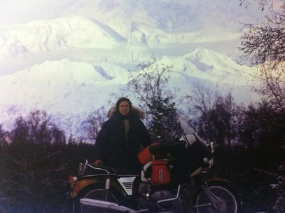 John Binkley with his motorcycle on his journey from Alaska to Argentina.