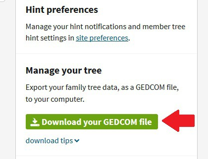 This image shows how to download your Ancestry tree in a GEDCOM format