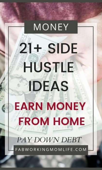 If you're wondering how to make extra money from side jobs you need to read this post! 21+ Side Hustle Ideas to earn Money from Home and Pay Down Debt