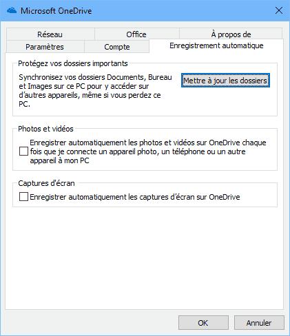 Paramètres d'enregistrement automatique des fichiers photos et vidéo sur OneDrive