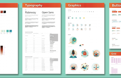 Examples of a pattern library, showing typography, button designs, grid, and iconography.