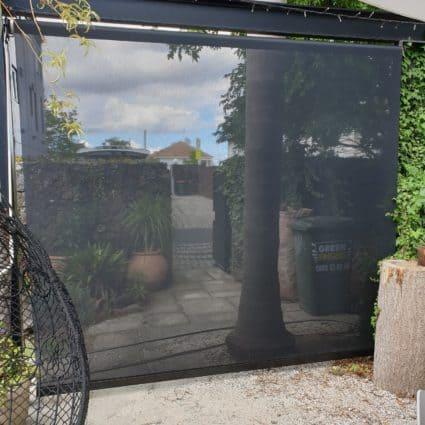 Mesh fabric patio blind in Ponsonby