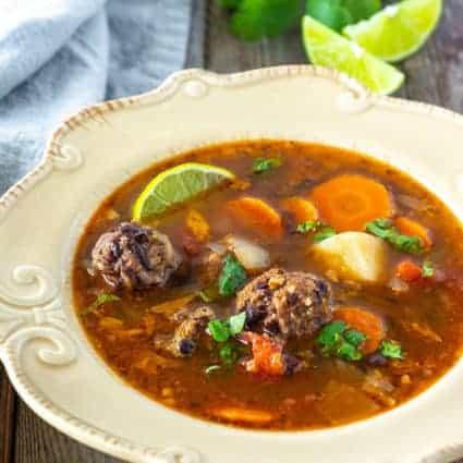 Instant Pot Vegan Mexican Meatball Soup