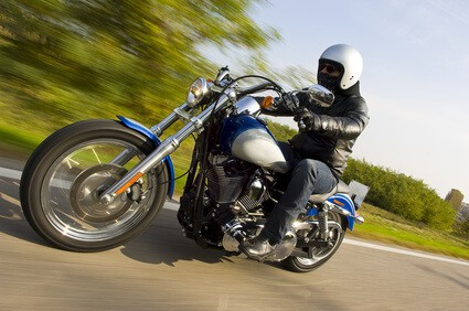 Man on Motorcycle - May is National Motorcycle Month - Safety Tips from Martin, Harding & Mazzotti 1800law1010