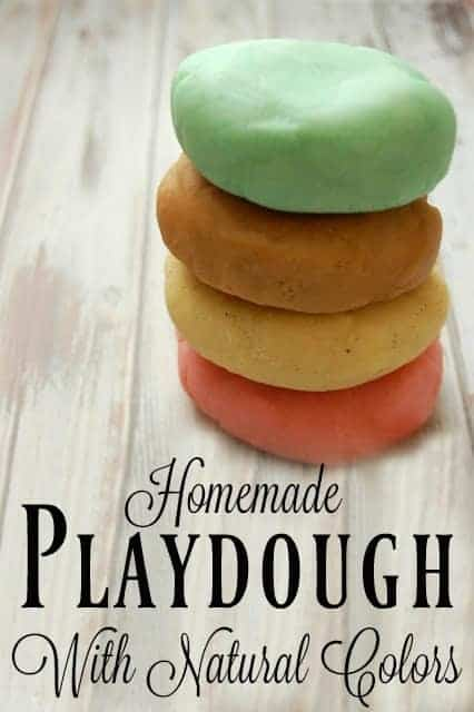 Homemade Playdough with Natural Colors - No more fake fragrances, artificial dyes, or petroleum! Making your own playdough is easy and fun! #playdough #kidcrafts #sensoryplay #natural #nontoxic #kids #crafts
