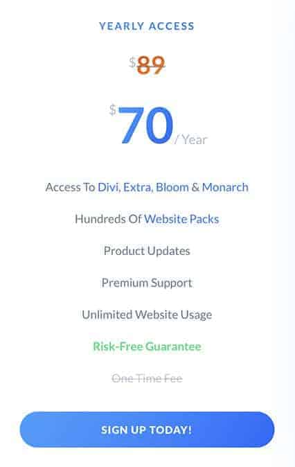 divi yearly access