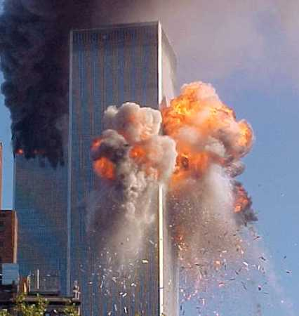 United 175 moment of impact into the WTC South Tower, exploding in a fireball