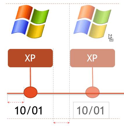 Alignement du nouvel item avec le premier à l'aide des lignes en points-tillés de PowerPoint