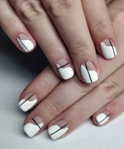 black and white french tip nail design