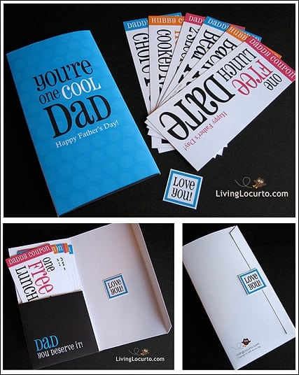 A fun printable Father's Day Card and coupons you can print from home on your computer! Easy last minute gift idea for Dad. #fathersday #gift #printables #fathersdaygift #livinglocurto #diygift