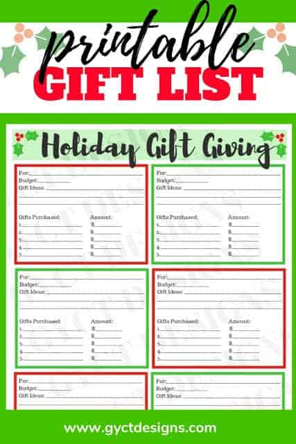 Christmas gift list printable from SewSimpleHome.com