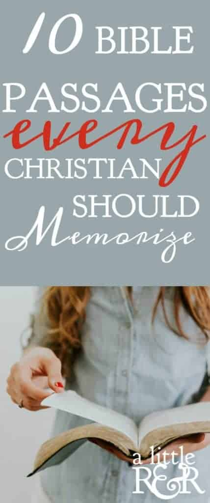 Memorizing scripture is essential for spiritual growth. Here are 10 passages of Scripture every Christian should memorize for a successful Christian life. #alittlerandr #memorize #renewingthemind #warrroom