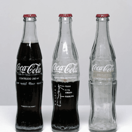 Conceptual art Cildo Meireles, Insertions into Ideological Circuits: Coca-Cola Project, 1970. Photo courtesy of Tate