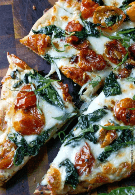 Easy dinner recipe for pizza - garlic roasted tomato and spinach flatbreads