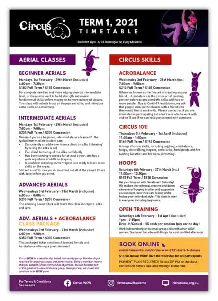 Image of the Circus WOW Term 1, 2021 class timetable.
