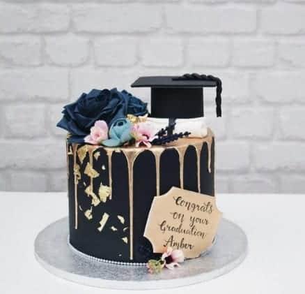 Elegant Gold Speckles Cake with Navy Rose