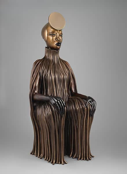 African American artists changing the narrative. Wangechi Mutu, The Seated II bronze sculpture
