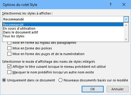 Word - options volet styles