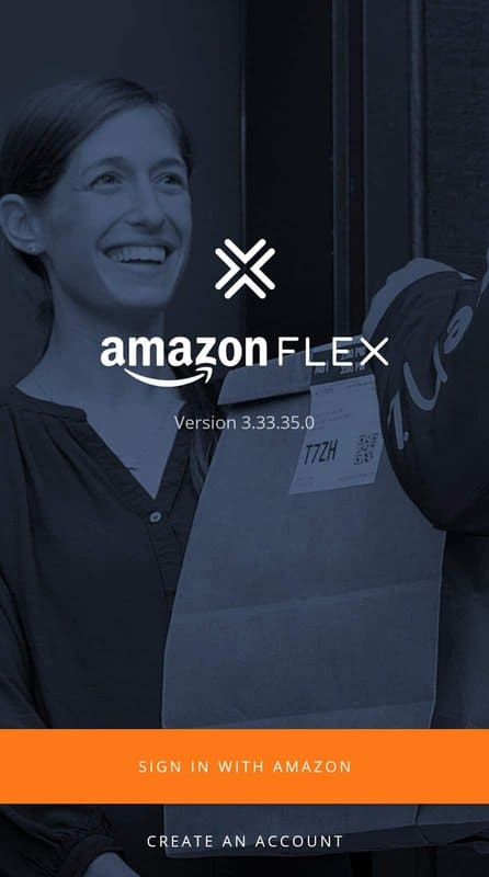 """Apply for Amazon Flex: the """"Sign In"""" page on the Flex Driver app"""