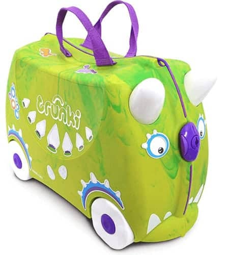 Kids love trunki carry-on cases they can pull or ride on. This one looks like a green monster.