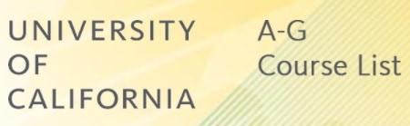 university of california a-g list