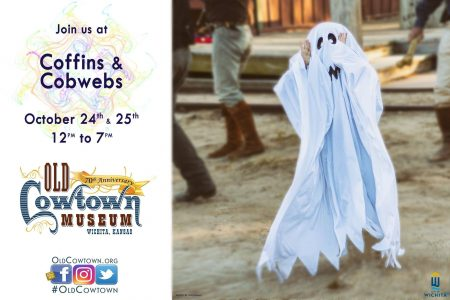 child dressed up in a cute ghost costume at Coffins and Cobwebs at Cowtown