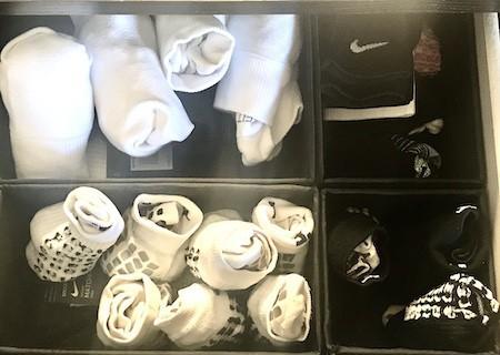 Organize a teen's bedroom: sock storage