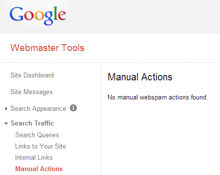 Webmaster Tools   Manual Actions